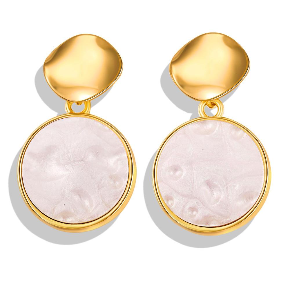 Fashion Korean Charm Drop Earrings Gold Fashion Drop Round Heart Dangle Earring Wedding Jewelry for Women Girls in Drop Earrings from Jewelry Accessories
