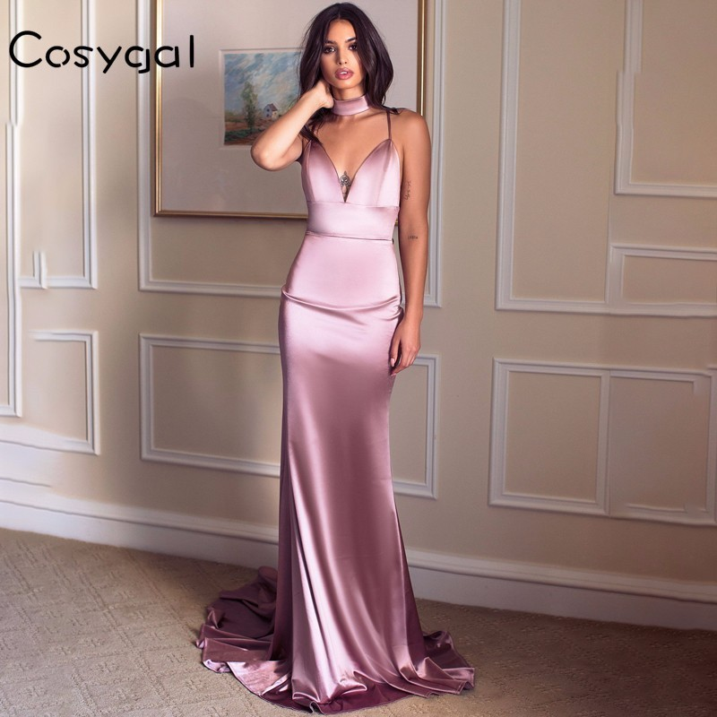 Detail Feedback Questions about COSYGAL Backless Long Summer Dress Women V  Neck Red Satin Women Dress Night Party Floor Length Maxi Dress Club  Vestidos 2018 ... 4ce8ca94f2fe