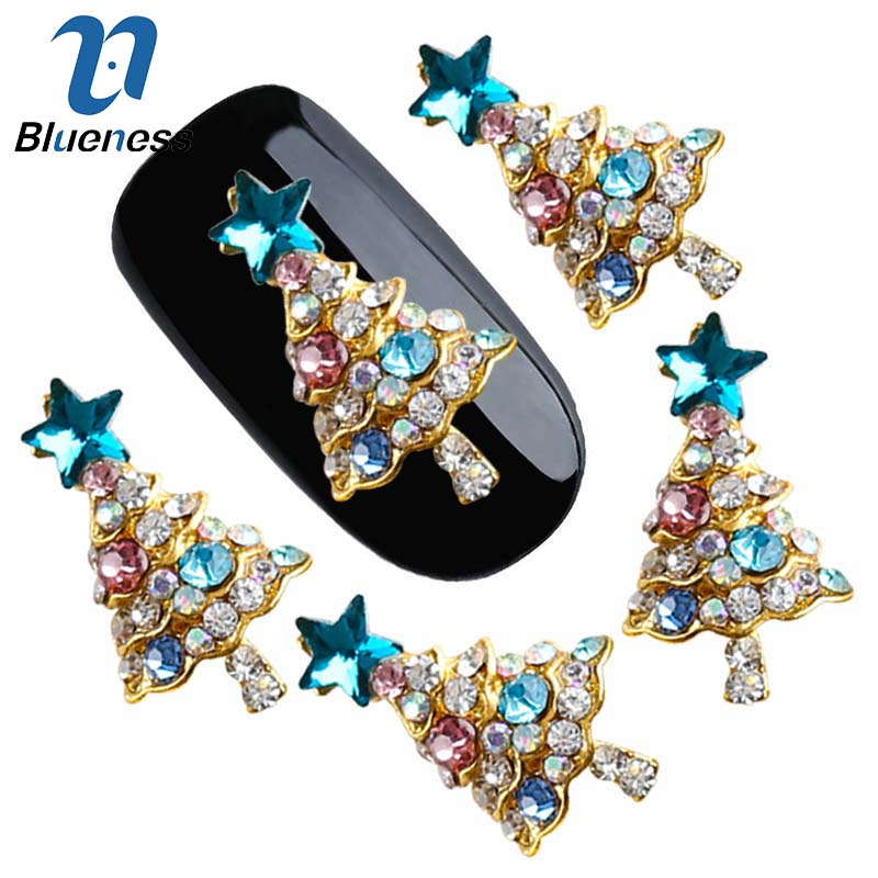 10Pcs Lot 3D Rhinestones Decorations Blue Glitter Star Christmas Tree Design  Adhesives Nail Art DIY 85a7fd5720fa