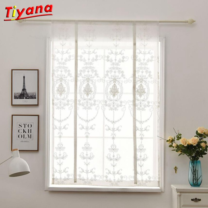 Us 10 96 7 Off 1pcs White Embroidery Kitchen Curtain Roman Window Treatment For Small Windows 100 140 80 120 Rod Pocket Tulle Panel 5 In