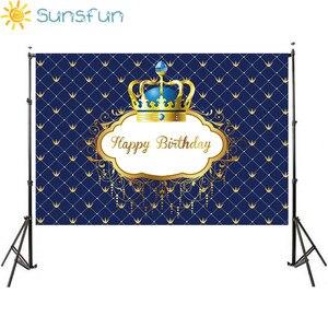 Image 3 - Sunsfunวันเกิดพื้นหลังLittle Prince Royal Crown Baby Showerของหวานตกแต่งตารางทารกแรกเกิดถ่ายภาพแบนเนอร์