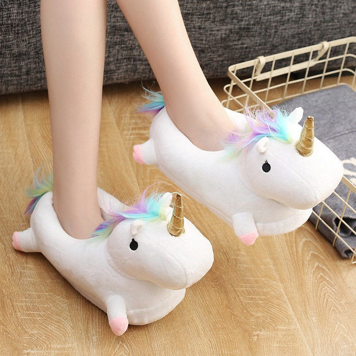 Unicorn Glowing Cartoon Shoe Home White Pink Slippers Light Up Warm Soft PP Cotton Plush House Shoes Children Action Figure Toy