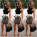 Sexy Femme Pencil Dresses Tight PartyVestidoes Woman Fashion Sheath Dress Stitching Printed Sleeveless Bodycon