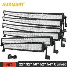 Auxmart 5D Lens 22″ 32″ 50″ 52″ 54″ Curved LED Light Bar 12v 24v Combo Beam Camber LED Bar Offroad Camper Truck 4×4 4WD SUV ATV