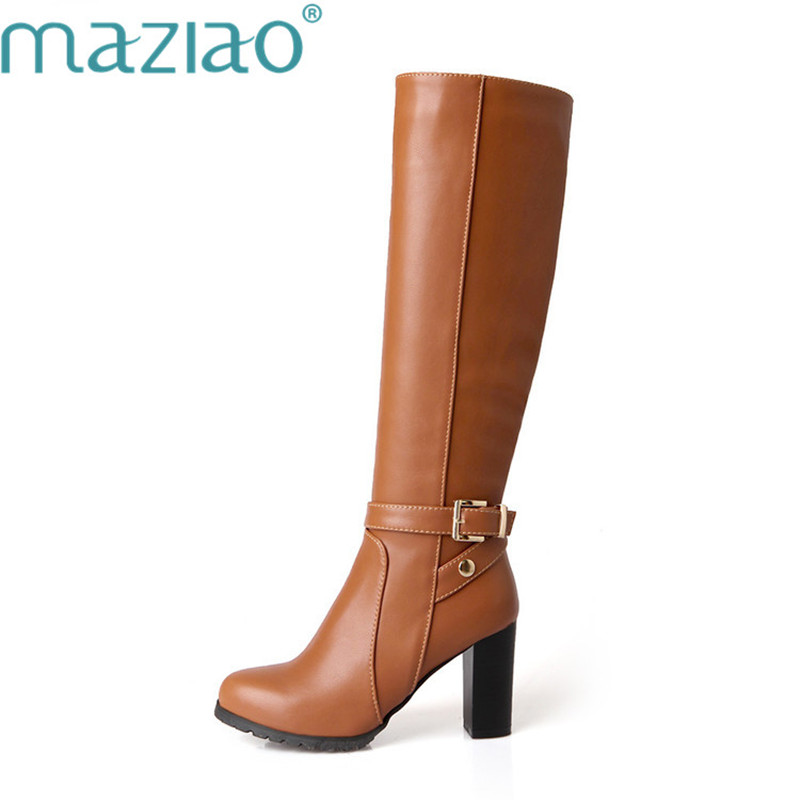 MAZIAO 2019 Plus Size 34-43 Women Boots Square Heels Round Toe Knee-High Boots Woman Shoes Winter Boots Black  Brown