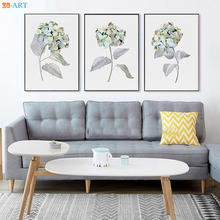 Акварельный серый цветок Изобразительное искусство Принт природа