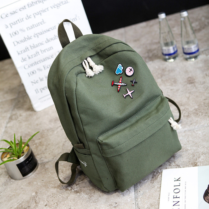 Multi-function Exquisite Backpack Large Capacity Fashion Simple Canvas School Bags Multi-function Pure Color Casual Backpacks #2