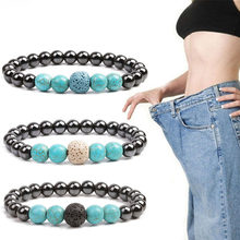 Healthy Care Fashion Black Gallstone Weight Loss Bracelet Health Care Slimming Fat Reduction Magnetic Therapy Product(China)