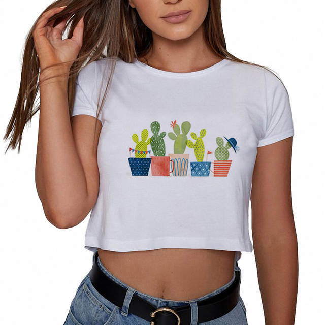 7efa9d8991228 placeholder Summer Aesthetic Women Crop Top Tumblr Print Cacti Party Shirts  Casual Tee Shirts Ladies Hipster Womens