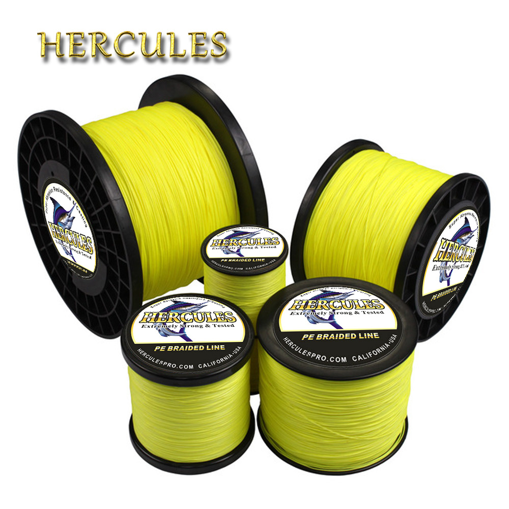 Hércules línea de pesca trenzada 8 hilos amarillo fluorescente 100 M 300 M 500 M 1000 M 1500 M 2000 M cable de línea multifilamento pesca
