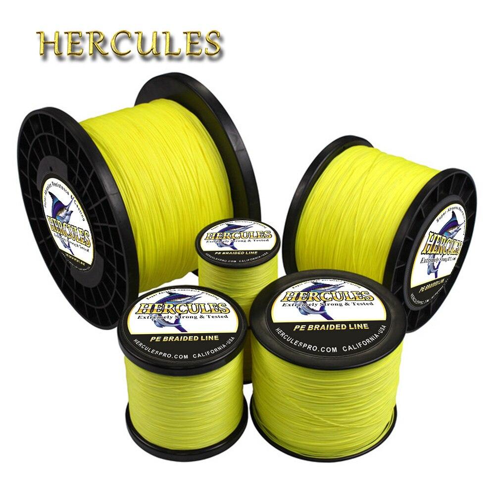 Hercules สายถัก Braided 8Strands เรืองแสงสีเหลือง 100M 300M 500M 1000M 1500M 2000M สายไฟ Linha multifilamento สำหรับตกปลา