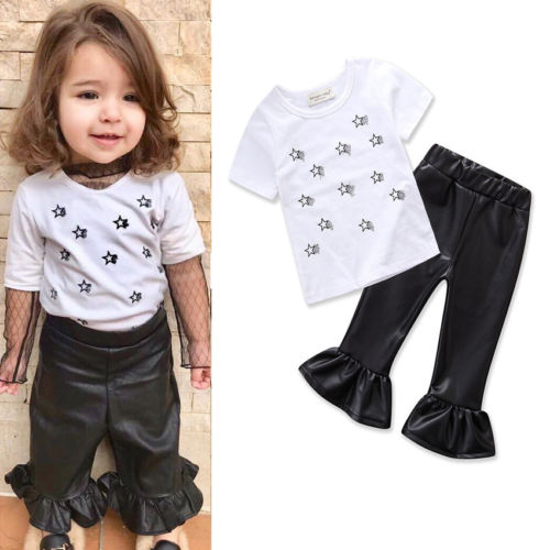 >2018 Princess Kids Baby Girls White Tops T shirt+PU <font><b>Leather</b></font> <font><b>Pants</b></font> <font><b>Outfits</b></font> Set Clothes