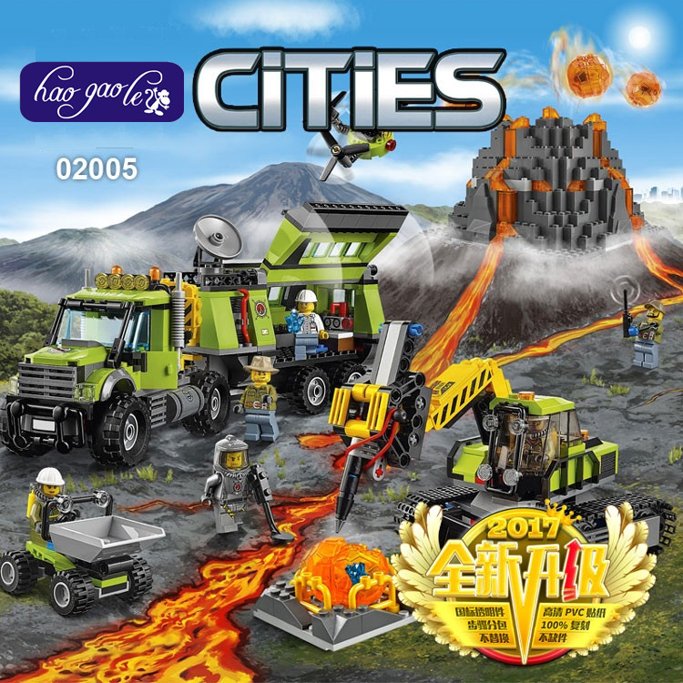 Lepin 02005 889Pcs City Series The Volcano Exploration Base Set Children Educational Building Blocks Bricks Baby Toys 60124 lepin 02012 774pcs city series deepwater exploration vessel children educational building blocks bricks toys model gift 60095