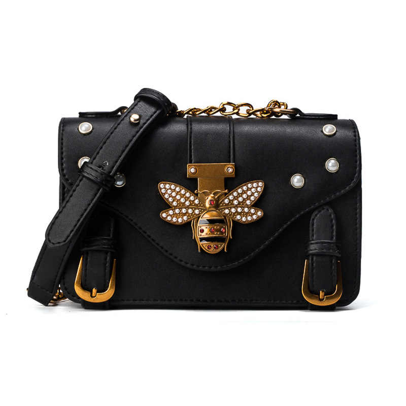 New Women Messenger Bag Fashion Brand Designer Retro Bee Honeybee Decor  Rivet Shoulder Bag for Ladies 02ed0f37ed4c9