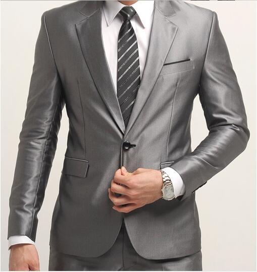 Chaqueta de la manera + bragas de los hombres traje de hombre de Los Hombres fijó Delgado trajes de boda para los hombres un botón de Negocios conjuntos Casual terno tuxedo trabajo