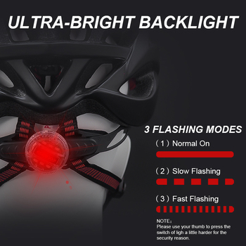 Bicycle Helmets Matte, Black, Men Women  Back Light MTB Integrally Molded 8