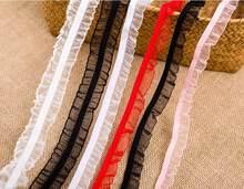 Roupas de banda de renda elástica, 5 jardas pretas branco vermelho organza babado renda elástica stretch faixa de roupa e vestuário 1.5cm livre envio do frete