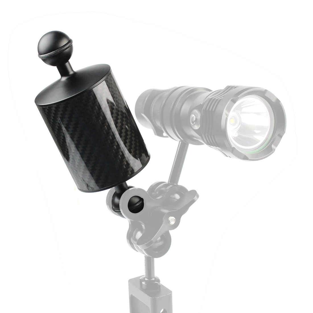XT-XINTE Underwater Diving Photography Float Arm Carbon Fiber Buoyancy Lamp Arm Dual Hand-Held Accessories 1 Inch Dual Ball Head D60mm Upgraded Version