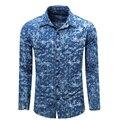 2016 Outono Camisa de Brim dos homens da Marca Dos Homens Camisas Manga Longa de Brim Âncoras Camisas Dos Homens do Desenhador Camisas Hombre Floral Azul camisa