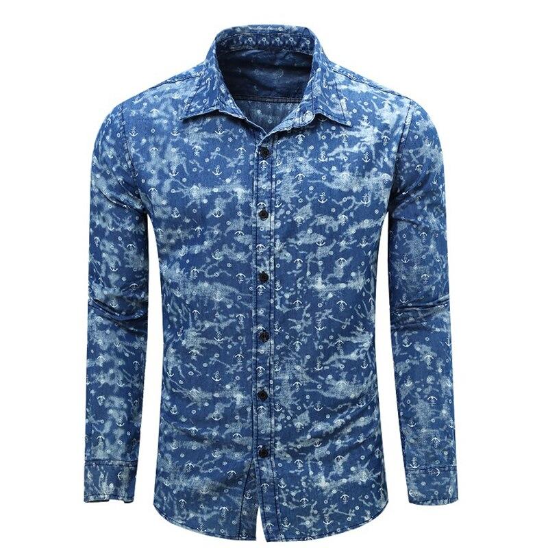 2017 Autumn Men Shirt Denim Brand Men 39 S Long Sleeve Denim