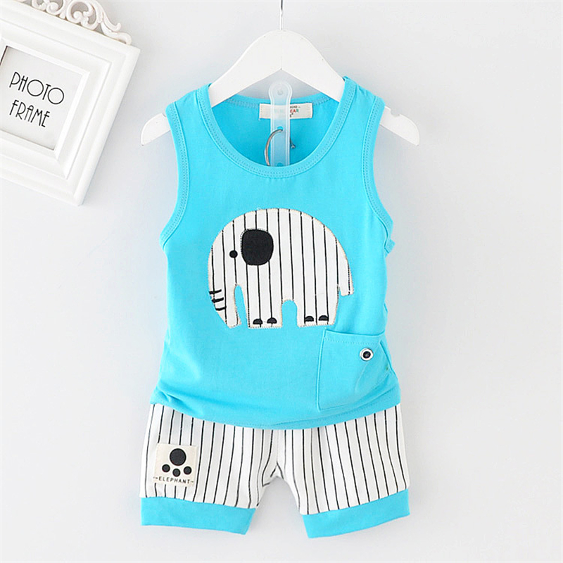 2018 new Summer children's clothing Vest and shorts 2 pieces Boys and girls Baby clothes elephant pattern kids clothes 2017 new pattern small children s garment baby twinset summer motion leisure time digital vest shorts basketball suit