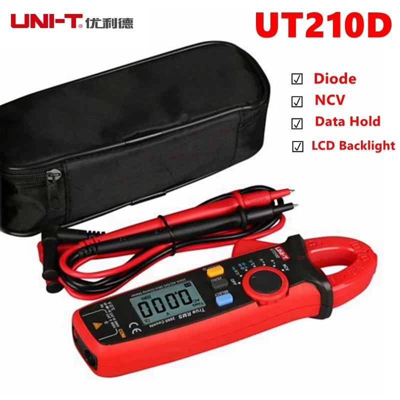 UNI-T UT210D UT210E metro de la abrazadera del multímetro de AC2V/20 V/200 V 20A/200A Auto de la gama de verdadero RMS batería baja indican actual medidor de voltaje