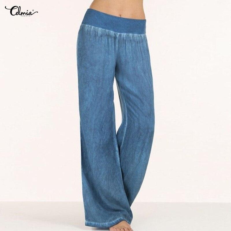 Celmia Plus Size Women Pantalon 2018 Autumn High Waist Palazzo   Pants   Female Casual   Wide     Leg     Pants   Denim Blue Jeans Long Trouser