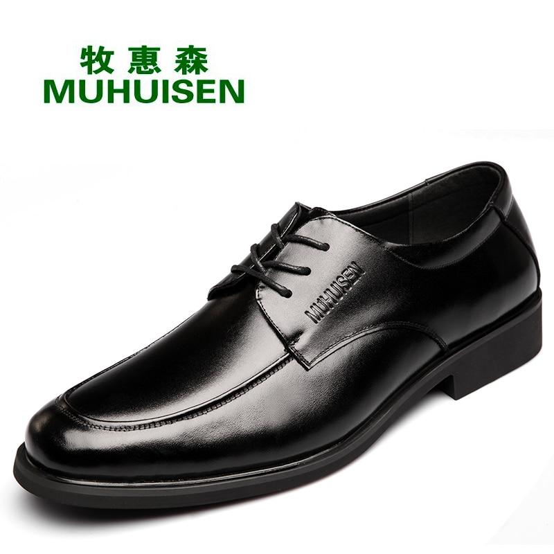4a8332a67 Dos Black Vestido Couro Sapatos Com Negócios Muhuisen Lace Homens Vestir De Genuíno  Moda Masculina Sapatas ...