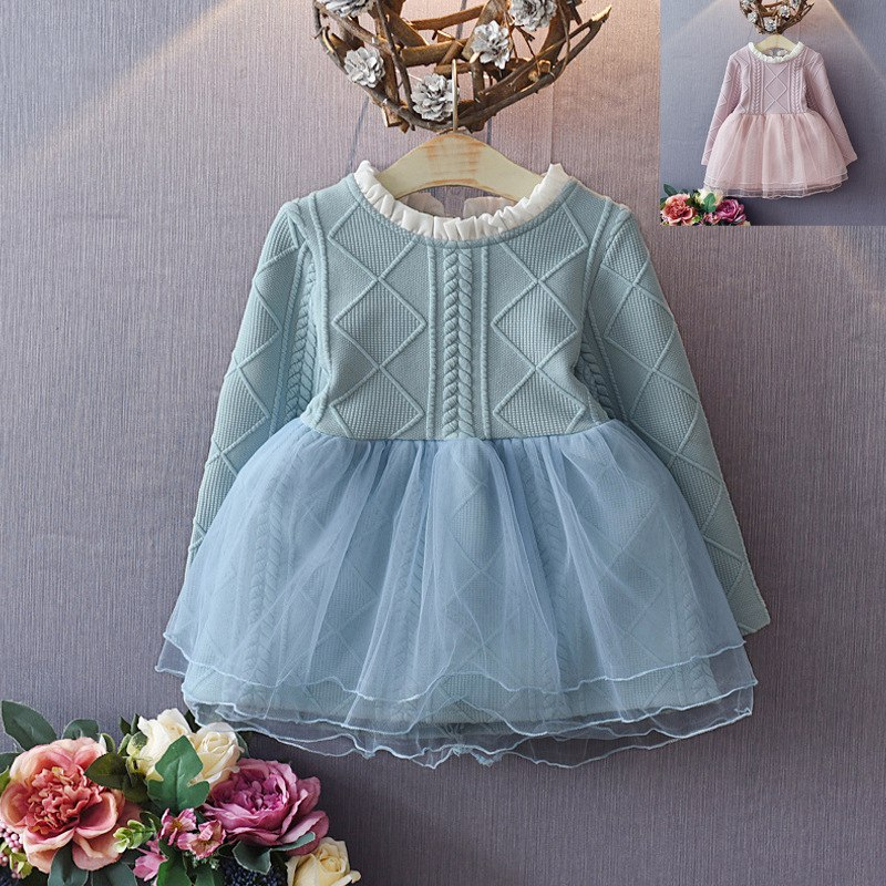 Fashion Autumn Children Kids Roupas Bebe Knitting Mesh Long Sleeved Princess Girls Tutu Party Dress Vestidos S3977