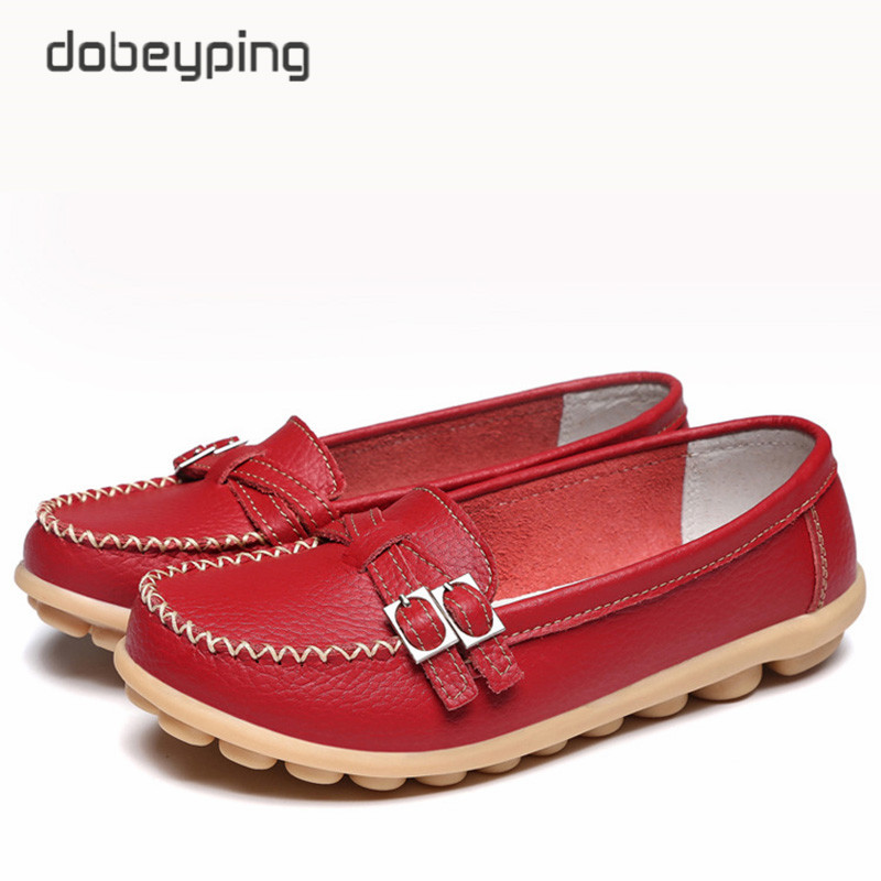 Soft Genuine Leather Shoes Women Slip On Woman Loafers Moccasins Female Flats Casual Women's Buckle Boat Shoe Plush Size 35-41 20pcs lot 493c33 to 252