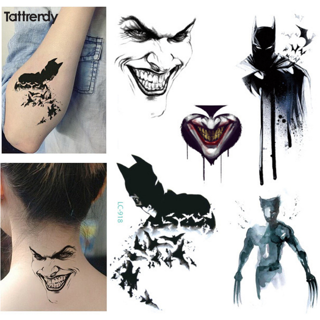 Us 122 1 Blatt New Multi Stil Cartoon Avengers Dark Clown Batman Wolverine Temporären Flash Tattoo Arm Taty Körper Malen Bunte Tatuagem In 1