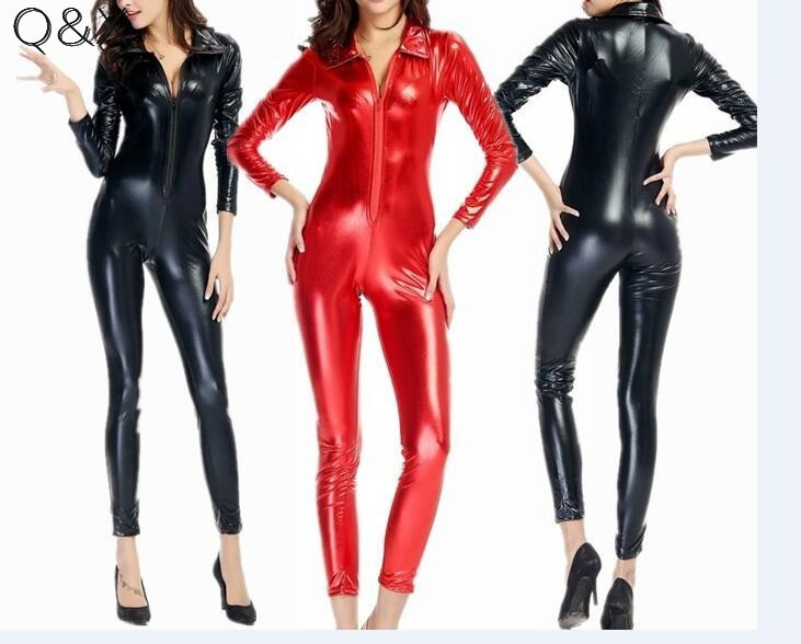 PS19 2017 Female PVC Patent Leather Black Red Babysuit Gothic Look Play Game Teddy Body Suit Stretch Crotch Zip Costume