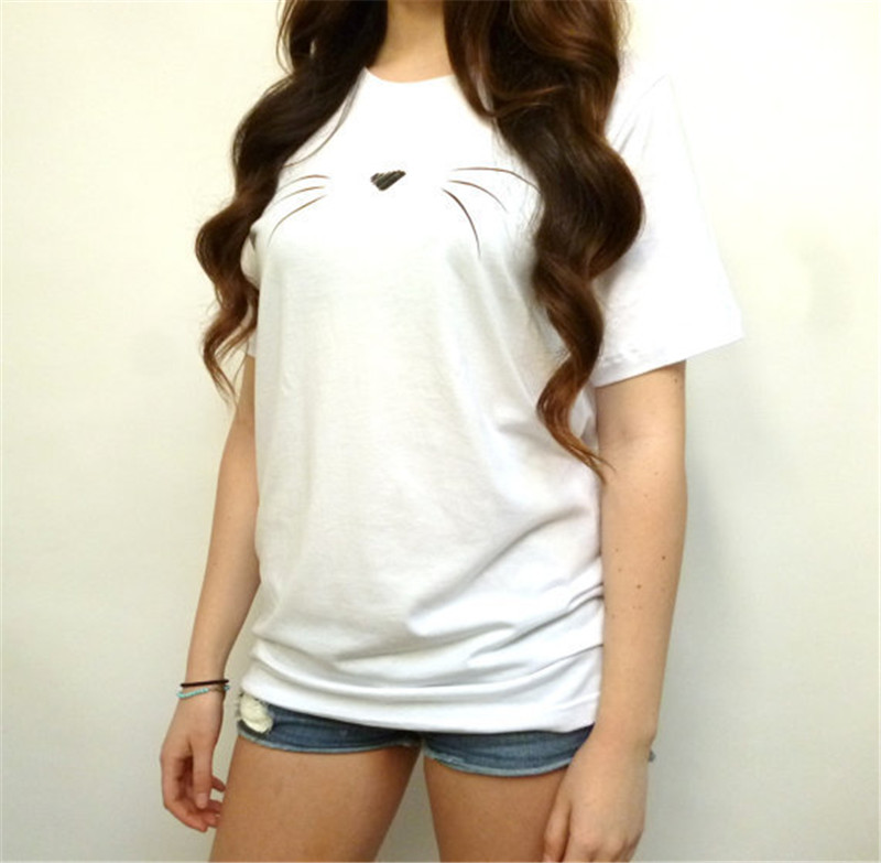 2018 Summer Harajuku T-shirt Women Casual Cotton Lady Top Tees Tshirt Female Clothing T Shirt Cat Printed Cute Tee Shirt Femme 2