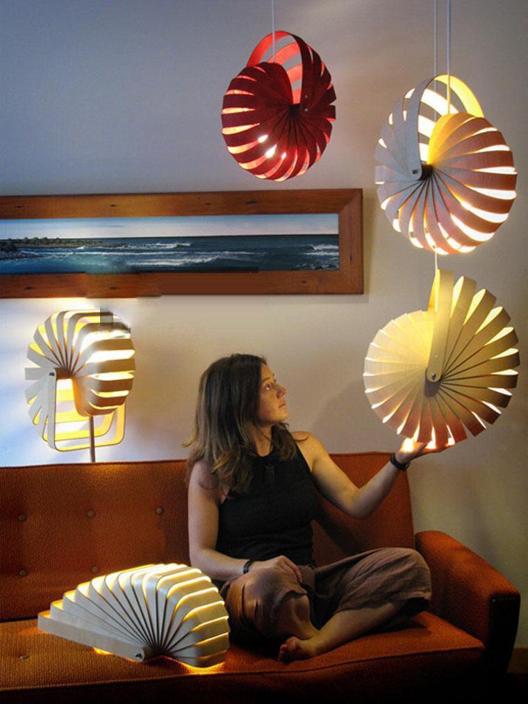 Işıklar ve Aydınlatma'ten Kolye ışıkları'de Modern LED E27 3 Renk Ahşap Droplight  Nadir Nautilus Kolye Işık restoranlar için kapalı Dekorasyon Asılı aydınlatma armatürleri
