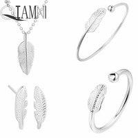 QIAMNI 925 Sterling Zilveren Blad Ketting Bladeren Armband Oorbel Ring Bruiloft Kostuum Sieraden Set Verjaardagscadeau voor Vriendin