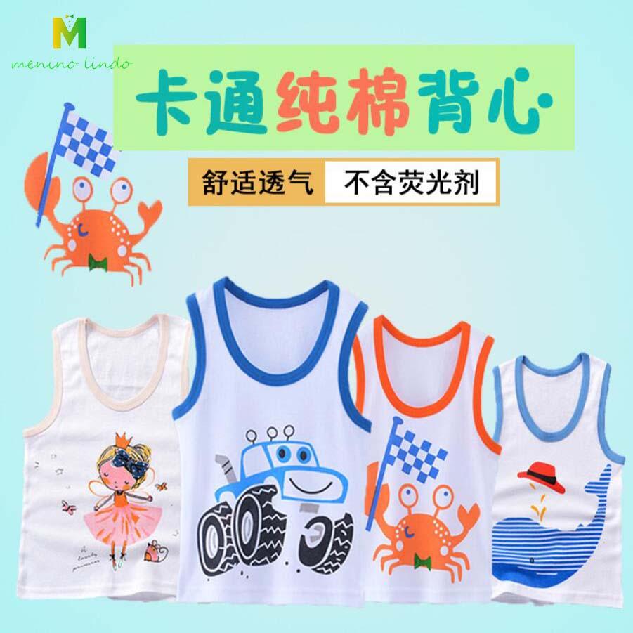 kids summer clothes 1-7T unisex pure cotton vest boys Tanks girls cartoon  Camisoles baby clothing little children print shirt