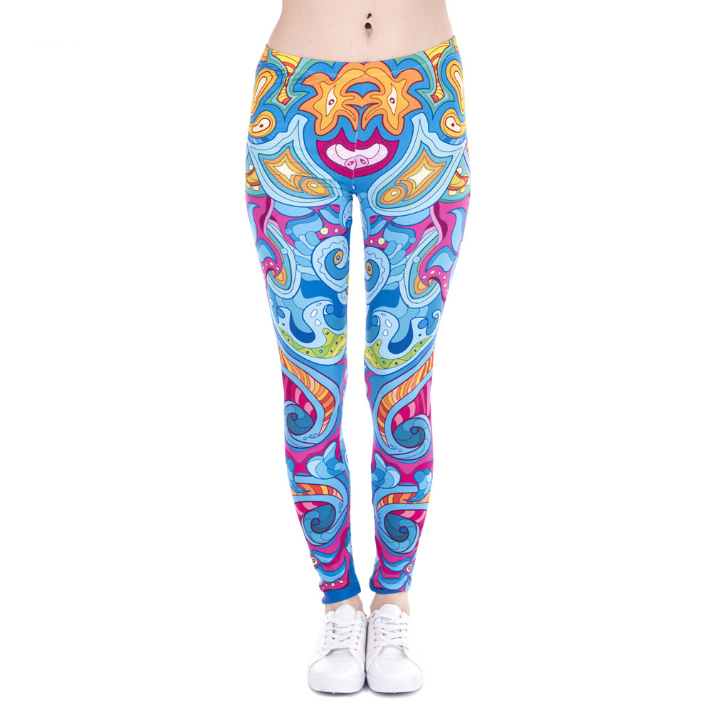 Fashion Women Leggings Seaflowers Printing Cats Fitness Legging High Waist Stretch Woman Pants