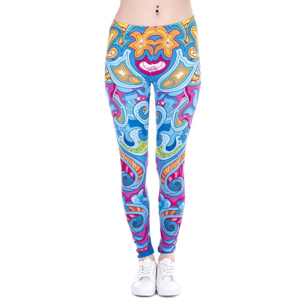 Fashion Women Leggings Seaflowers Printing Cats Fitness Legging High Waist Stretch Woman Pants