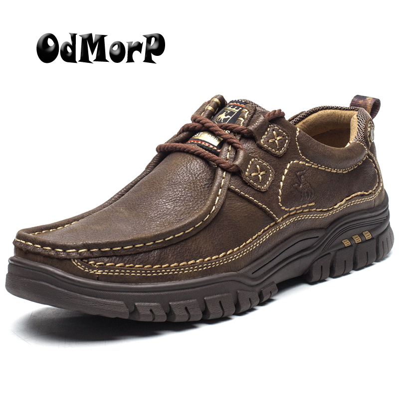 ODMORP Hommes Chaussures En Cuir Véritable Chaussures Casual Haute Qualité Confort Homme D'affaires Chaussures Antidérapant En Caoutchouc Brun Kaki Taille 38-44