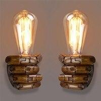 E27 Retro Wall Light Resin Vintage Edison Left/Right Fist Bedroom Restaurant Aisle Cafe Bulb Lamp Holder AI88