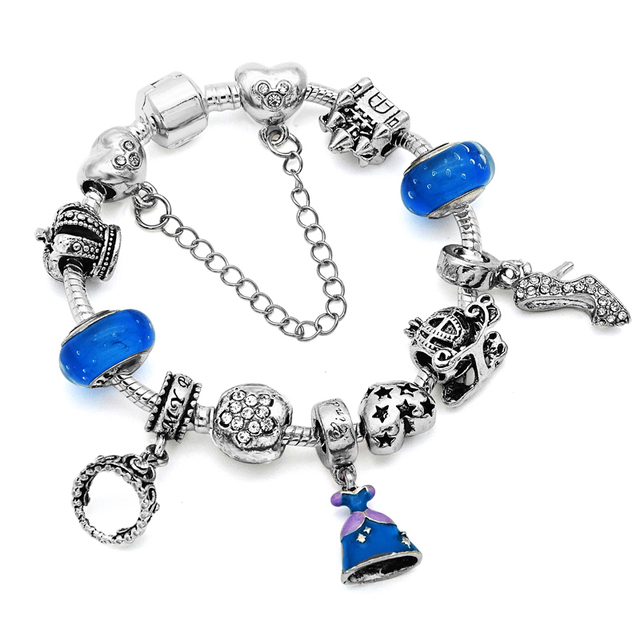 New 2017 Original Design Cinderella Dress Charm Bracelets For Women Blue Crystal Beads Fit Pandora