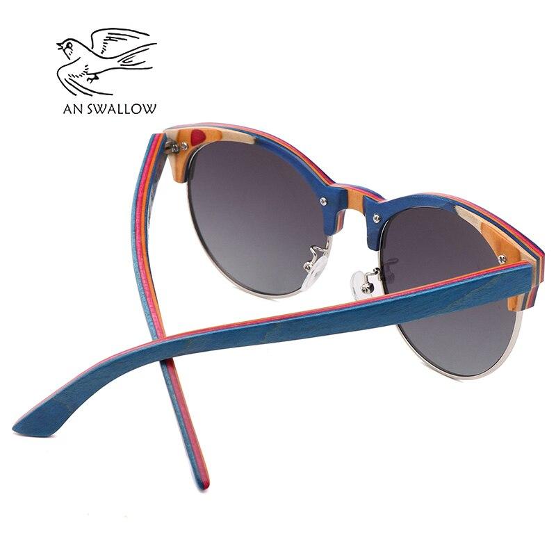 Image 3 - 2019 New Skateboard Wood Polarized Semi frame Sunglasses for Men TAC Lens UV400 Anti retro Ultraviolet SunglassesMens Sunglasses   -