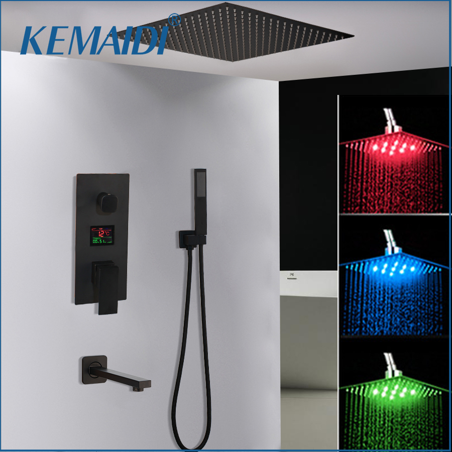KEMAIDI Black Brass LED Shower Head Digital Display Mixer Taps Bathroom Shower Faucet 3-Functions Digital Shower Faucets Set