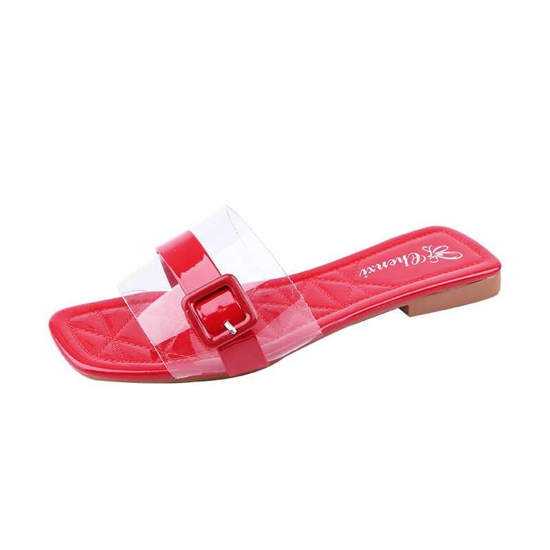 ฤดูร้อนผู้หญิงเทรนด์วุ้นรองเท้าส้นรองเท้าแตะชายหาดเปิด Flip Flop ออกแบบสบายๆแบน