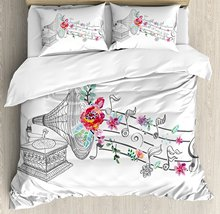 Music Decor Duvet Cover Set Vintage Gramophone Record Player with Floral Ornament Blossom Antique 4 Piece Bedding Set
