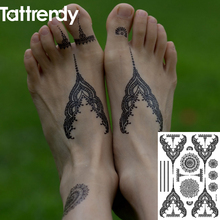 Temporary Tattoos Flash Body Art Fake Tattoo Stickers Henna Black White Lace Choker Indian On Body Foot Hand S1006B