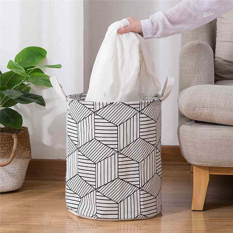 Foldable hamper Dirty clothes storage basket Folding Geometry Canvas Printing Kids Toys Dirty Washing Clothes Toys Storage @40(China)