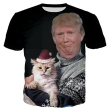 цены YX GIRL 3D Print Trump Chritmas T shirt For Women Men Hoodies/Sweatshirt  Casual Trump holding a santa cat Tshirt Dropshipping