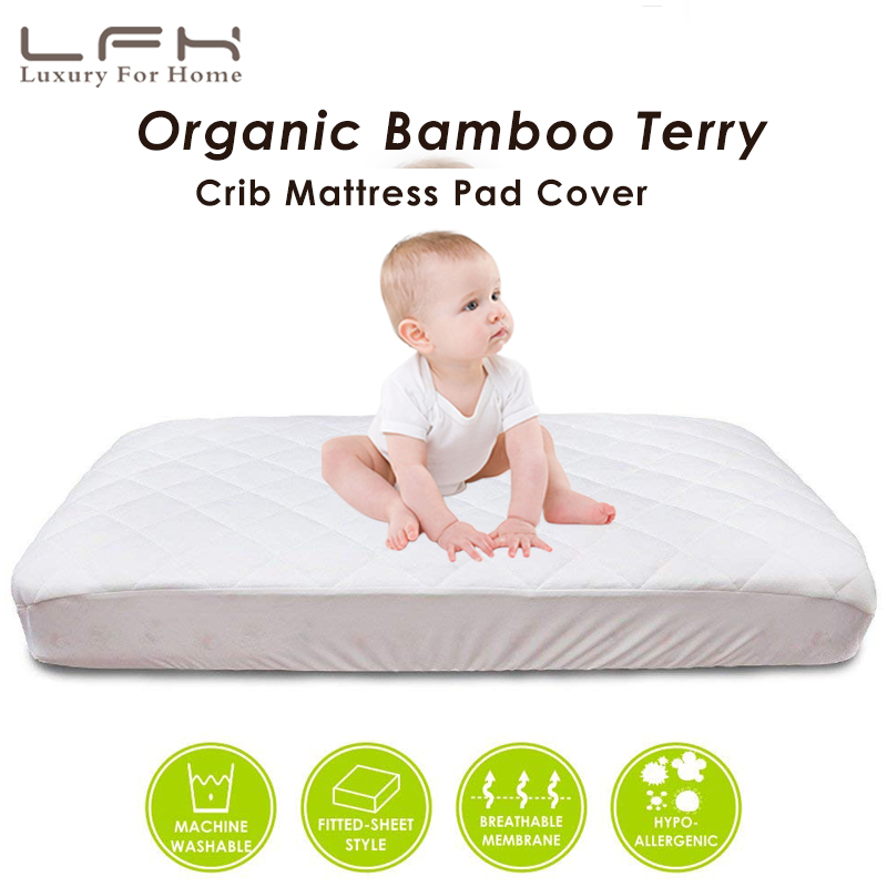 LFH 72x132cm Crib Waterproof Mattress Pad Cover For Toddler Bed Protector Bamboo Terry Baby Mattress Protector Bed Wetting
