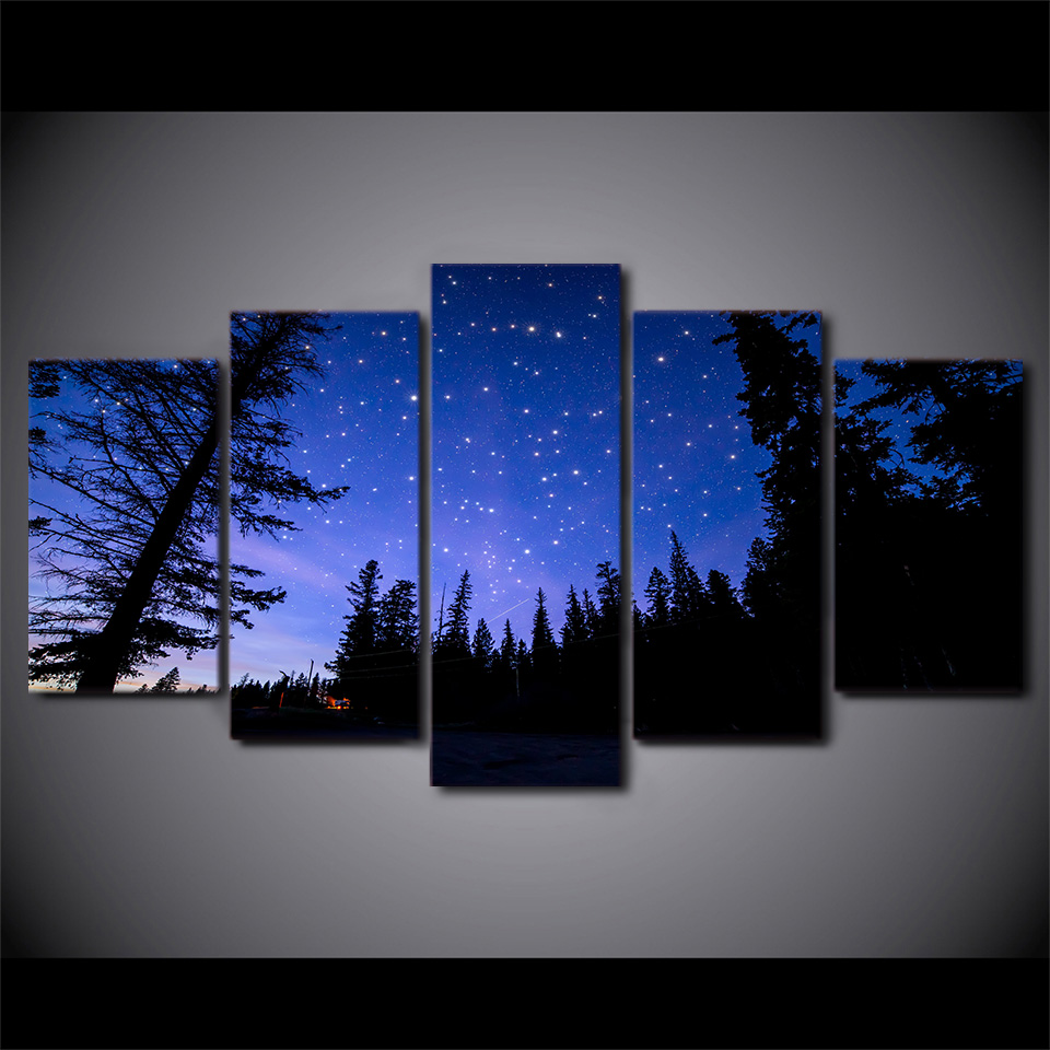 5 Panel Purple Starry Sky Night Forest Hd Printed Picture